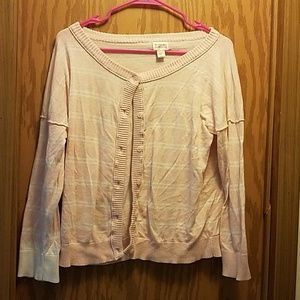 Pink and white button-up sweater